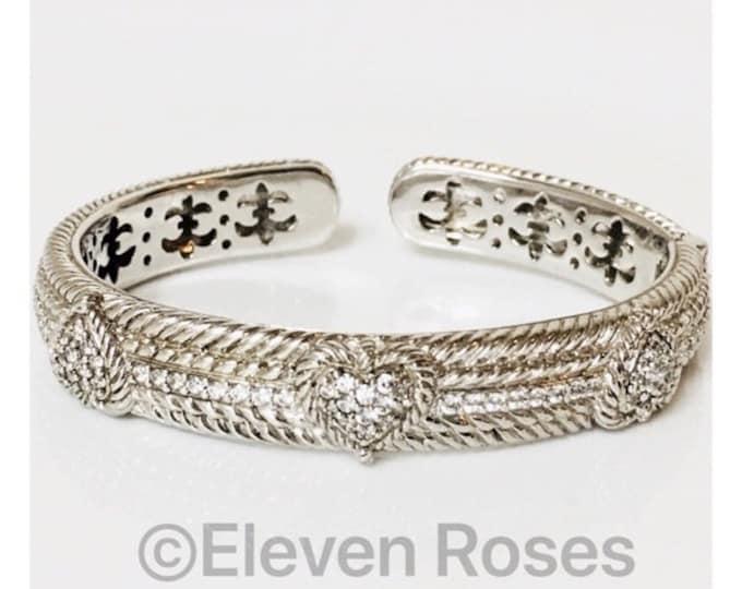 Retired Judith Ripka 925 Sterling Silver Diamonique Triple Heart Hinged Bangle Cuff Statement Bracelet Free US Shipping