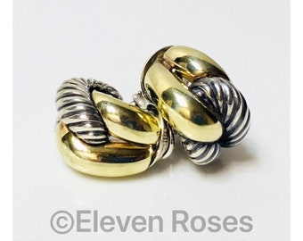 Vintage David Yurman Extra Large Sculpted Cable Earrings Earrings 925 Sterling Silver 585 14k Gold Free US Shipping