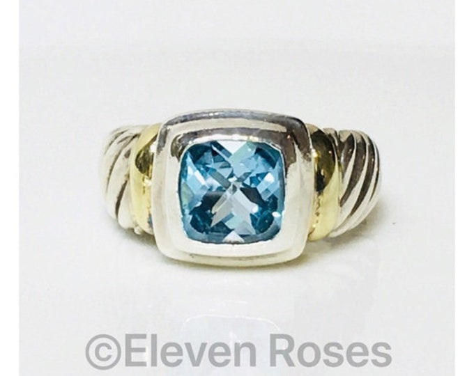 Vintage David Yurman Blue Topaz Noblesse Ring DY 925 Sterling Silver 585 14k Yellow Gold Free US Shipping