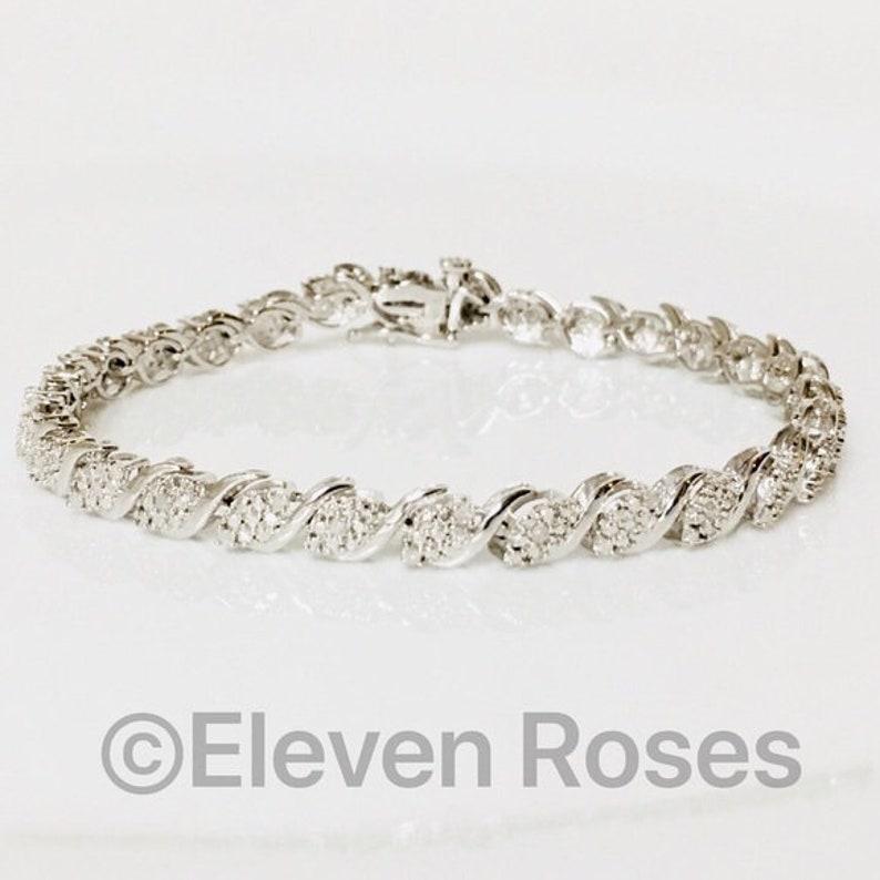 925 Sterling Silver  Gold Real Diamond Love Always Bangle Bracelet 6 34