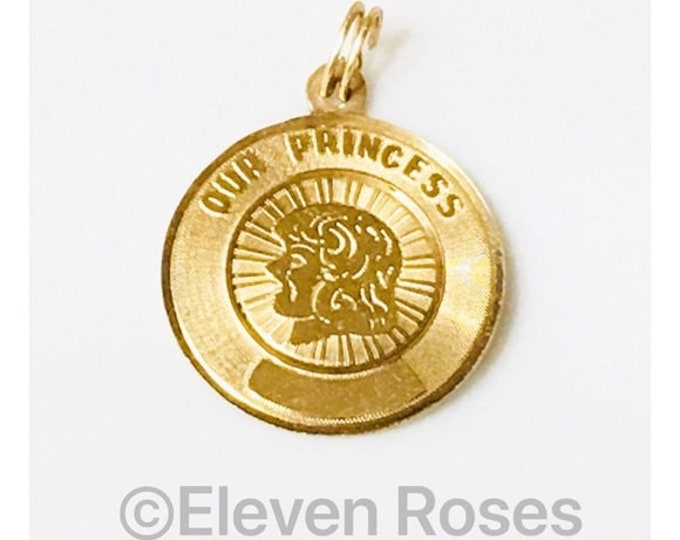 Vintage 14k Gold  Our Princess Round Disc Charm Pendant Free US Shipping