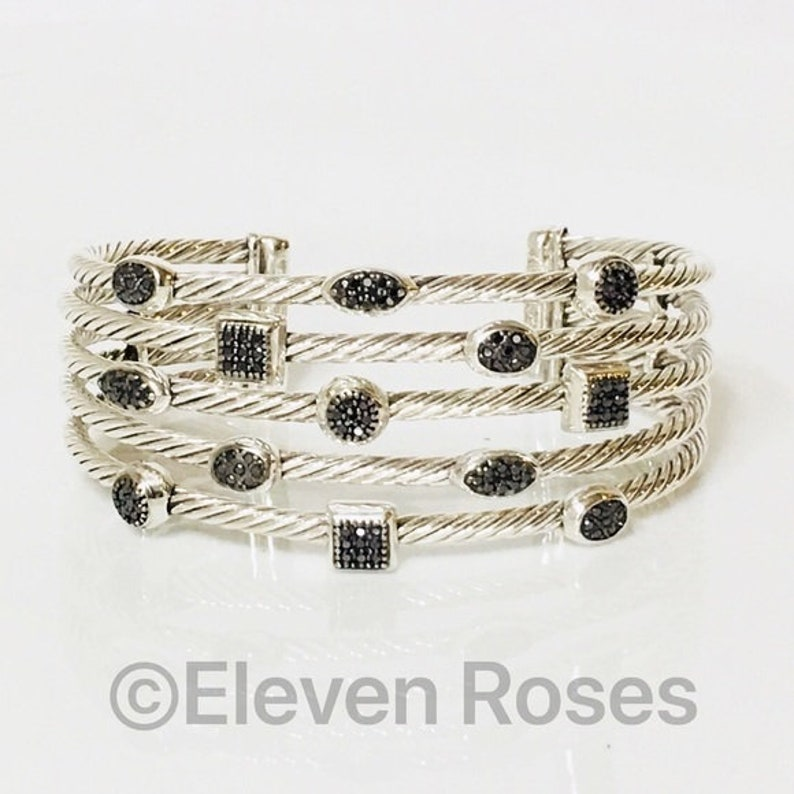 f7550fd4c David Yurman Black Diamond 5 Row Confetti Cable Cuff Bracelet   Etsy