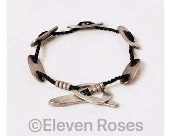 Jill Platner 925 Sterling Silver Tenara Cord Station Bracelet Free US Shipping