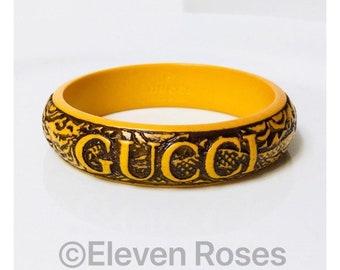 Gucci Carved Orange Resin Bangle Bracelet Free US Shipping