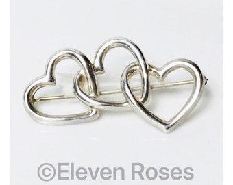 Vintage Tiffany & Co. 1984 Triple Heart Brooch 925 Sterling Silver Free US Shipping