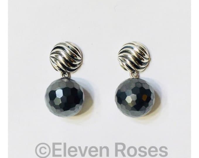 David Yurman Elements Rose Quartz Ball Dangle Drop Earrings  DY 925 Sterling Silver 585 14k Gold Free US Shipping