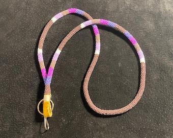 Purple - NATIVE BEADED LANYARD - Gift Idea, Elegant, Key holder
