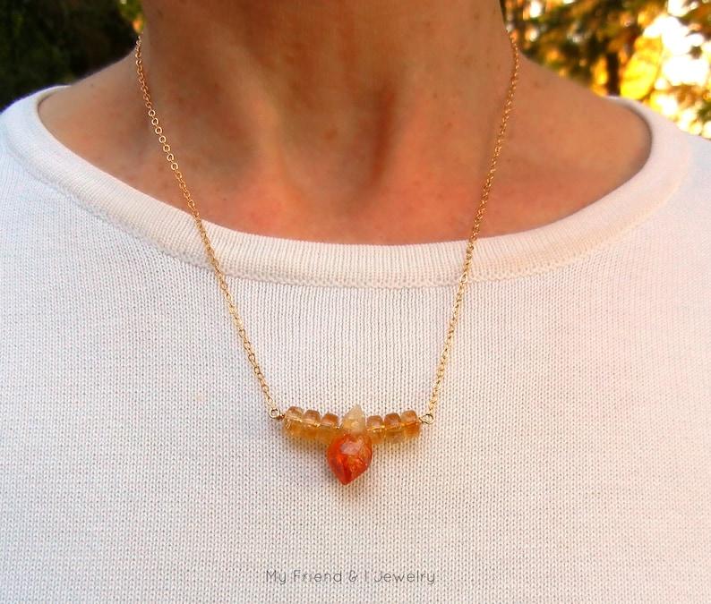 Citrine Bar Necklace November Birthstone Gold Minimalist Jewelry Raw Citrine Necklace DN422