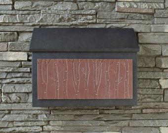 Modern Rectangular Mailbox - Birch Tree Design
