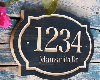 """15""""x 10"""" Classic House Number Engraved Plaque, Ready to Hang Custom Carved Sign, Personalized Address Plaque, Numbers Street and Family Name"""