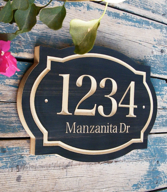 Classic House Number Engraved Plaque