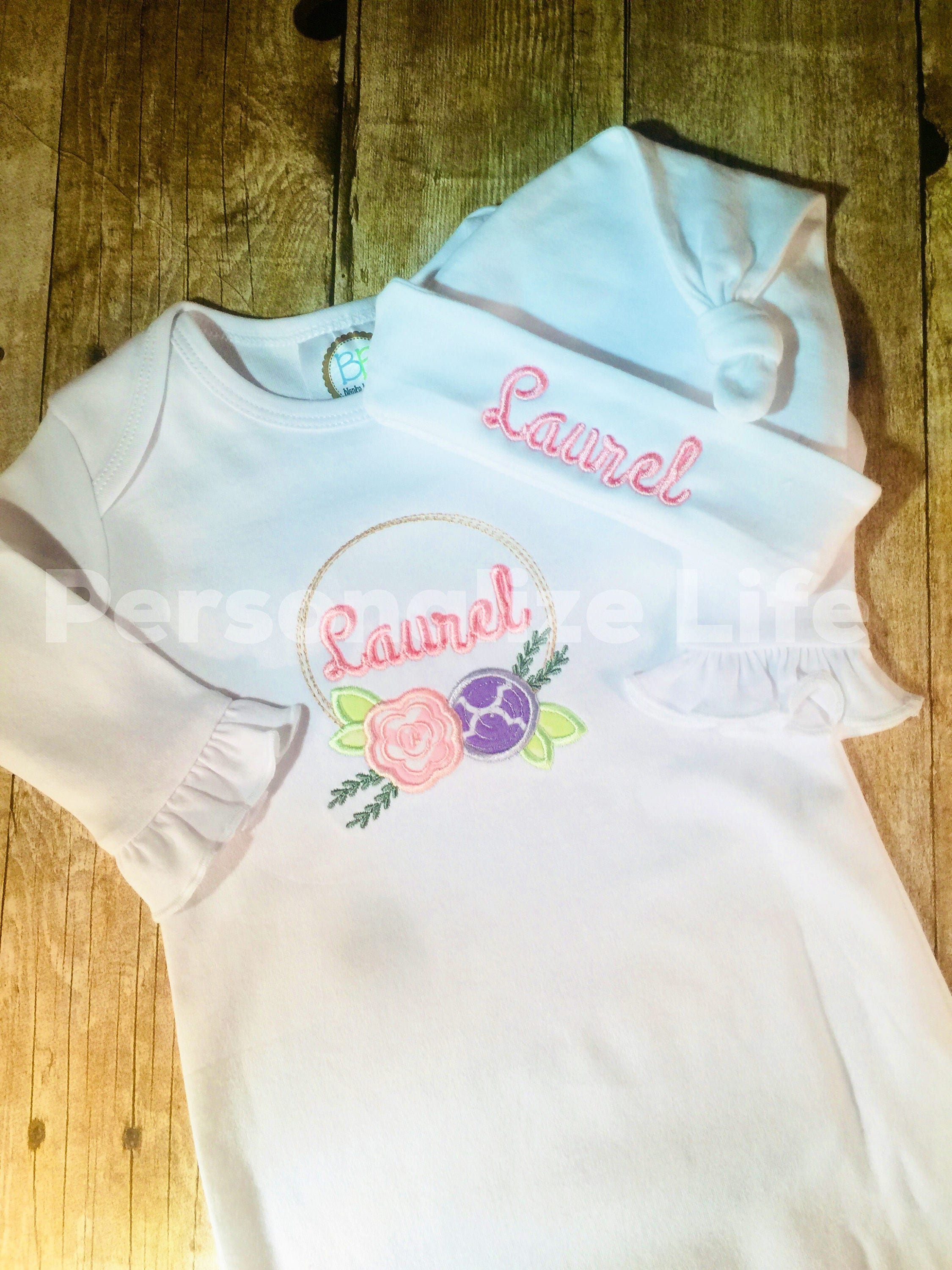 Monogrammed Ruffled Layette Gown with Hat/Layette Set/Baby Shower ...