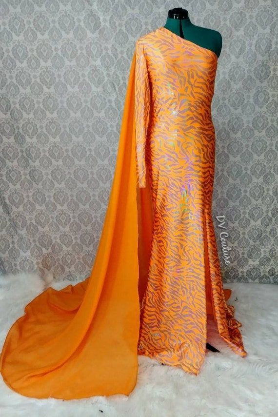 Orange holographic zebra gown with detachable chiffon cape. Drag Queen.