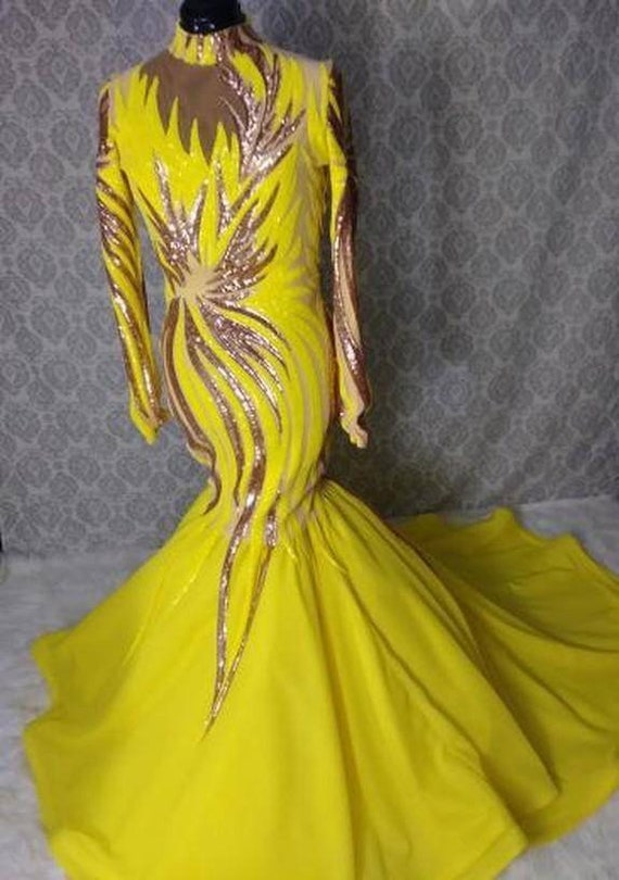 Yellow sequin gown. Chiffon mermaid bottom. Drag Queen. Prom. Pageant. Special occasion