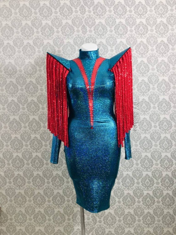 RTS 8-12 Turquoise and Red Supernova Cocktail Dress