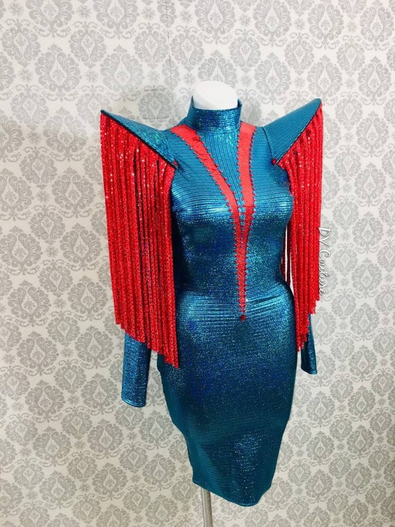Turquoise and Red Supernova Cocktail Dress