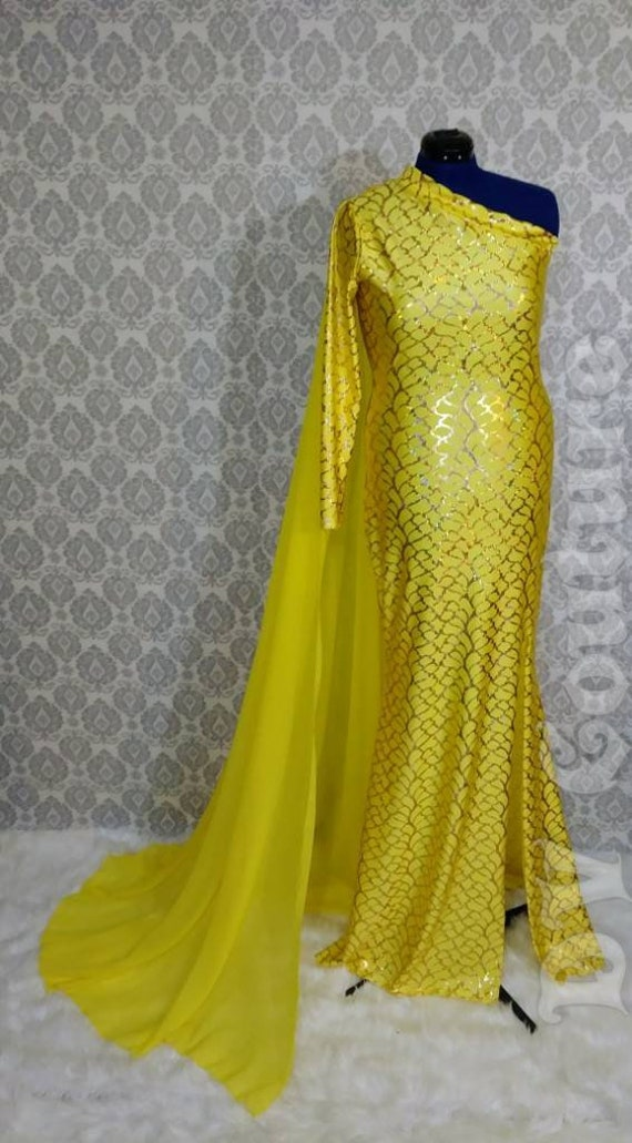 Yellow holographic gown with detachable chiffon cape. Drag Queen.