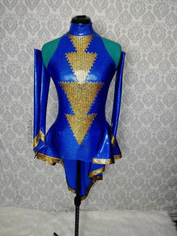 Royal blue and gold leotard with gauntlets and peplum. Drag queen.