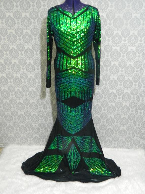 Schwarz und grün Pailletten Kleid Drag Queen