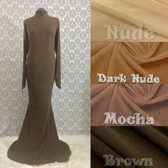 Nude illusion mesh dress base shell