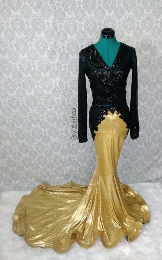 Gold and Black Sequin Applique Gown