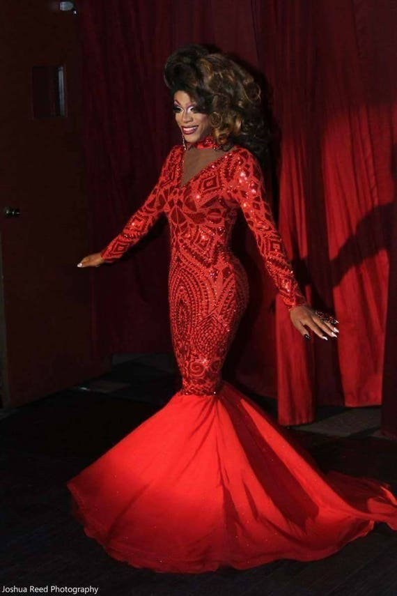 Red sequin gown. Chiffon mermaid bottom. Drag Queen. Prom. Pageant. Special occasion