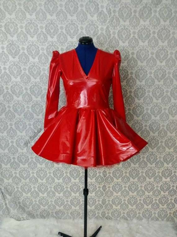 Red vinyl babydoll dress.