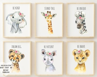 Printable Safari, animal nursery decor,  safari nursery decor, safari nursery art, playroom wall decor