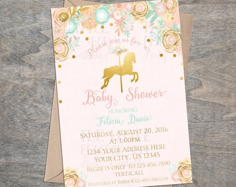 Pink Gold Carousel Baby Shower Printable Invitation