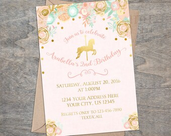 Pink Gold Carousel Horse Printable Birthday Invitation