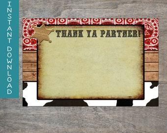 Cowboy Rodeo 4x6 thank you card | Western Horse Birthday cow print and bandana bandanna printable thank you card!