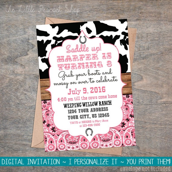 Cowgirl digital birthday invitation cow print bandana saddle etsy image 0 filmwisefo