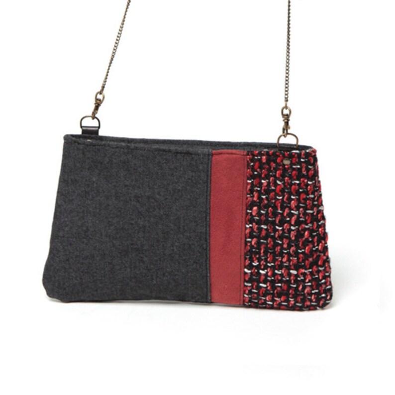 73cc1444ec0d Mini cross-body bag Chanel style Red and Black wool bag   Etsy