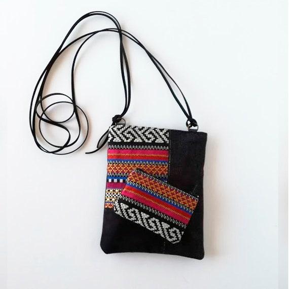 Bolso pequeño de cordón para el teléfono, bolso bandolera de tela, bolso de pasaporte tribal, mini bandolera para mujer,bolso bohemio regalo