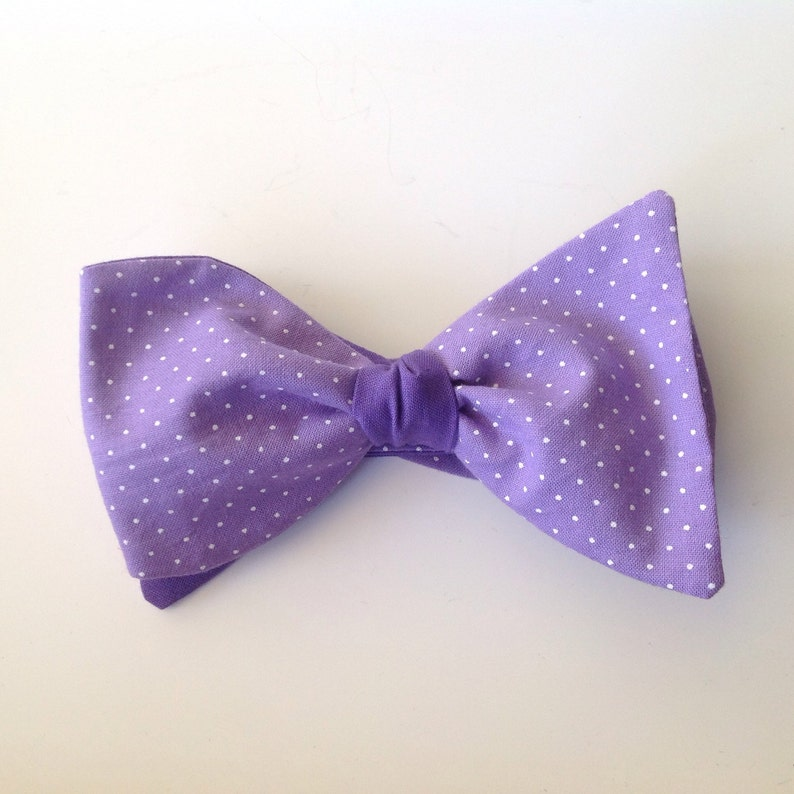 485a3357c73a Lavender with tiny white polka dots wedding bow ties black | Etsy
