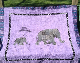 Elephant Quilt / Mom and Baby Elephant Quilt / Safari Quilt