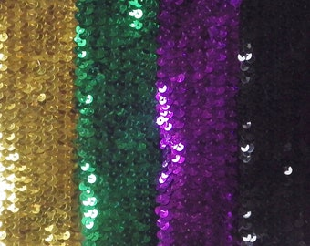 stretch elastic stunning trim sequins x 1 metre 25mm Blue 1/""