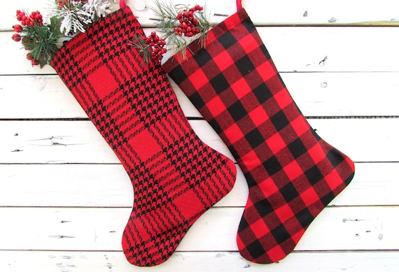 buffalo plaid christmas stockings red plaid christmas etsy
