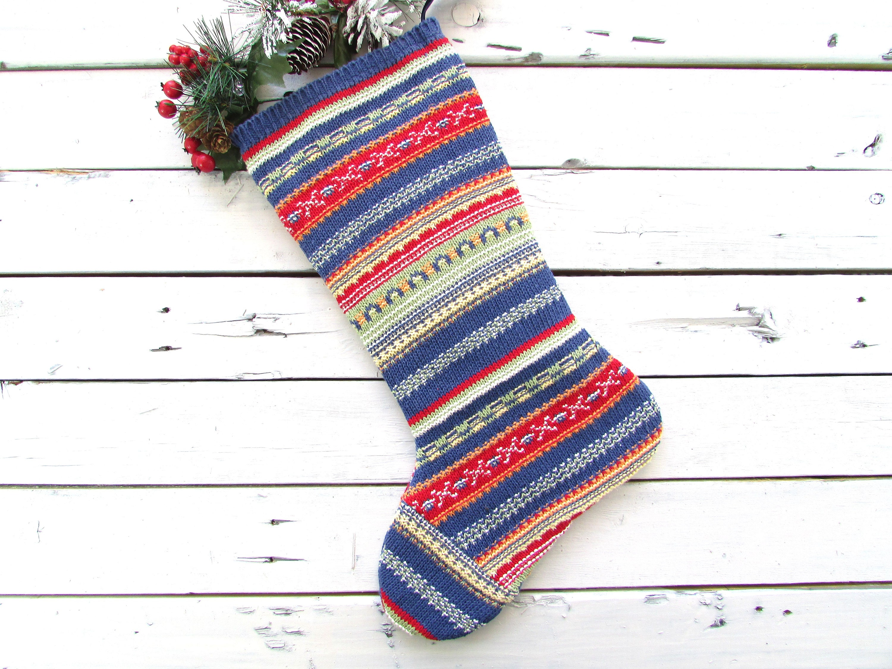 Knitted christmas stockings knit christmas stocking rustic | Etsy