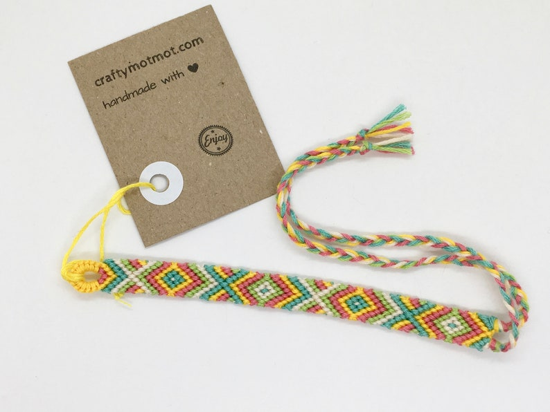 Bright Colourful Woven String Braided Patterned Cotton Beachy Jewellery Friendship Bracelet Boho Festival Knotted Wristband
