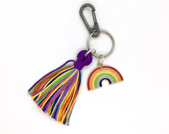 LGBTQ Queer Pride Keychain - Lgbt Rainbow Keyring - lgbtqia Flag Tassel Bag Lanyard, Pet Charm, Key Fob  - lgbtq+ gift - gay ally