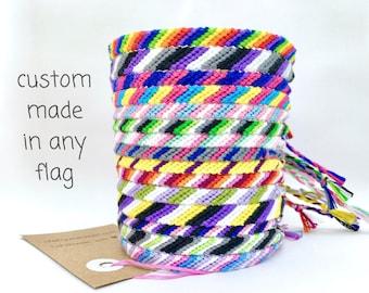 Lgbtq Pride Bracelet - bisexual gay lesbian transgender pansexual ace bi bigender genderfluid genderqueer aromantic rainbow lgbt custom flag