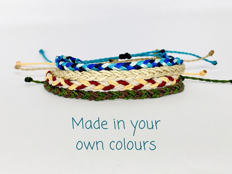 Custom color braided friendship bracelet unisex waxed string image 0