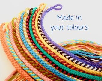 Skinny Custom Friendship Bracelet - Personalised Colours Woven Macrame String Wristband - Friend Gift - Minimalist Thin Flat Braided Band
