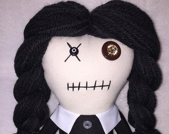 Wednesday Addams - Inspired by 'The Addams Family' created by Charles Addams - Creepy n Cute Zombie Doll (D)