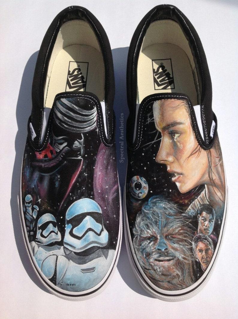 d8fcfc09cef Custom Painted Star Wars Rey and Kylo Ren Vans   Etsy
