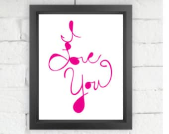 I LOVE YOU  |  Giclée print, abstract handlettering, home decor, wall art, typography art, modern art, Love Art, Sentimental gift, love you