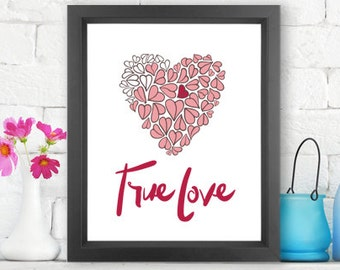 True Love  |  Giclée print, abstract handlettering, home decor, wall art, typography art, modern art, Love Art, Sentimental gift, love you