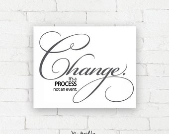 Recovery Art Print | Change | Giclée, encouragement art print, typography poster, home decor, wall art, wall decor, AA art