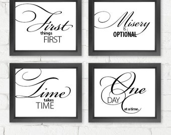 Motivational Art Prints | set of 4 prints {frames not included} | office wall decor, wall art, AA art, recovery art, encouragement print